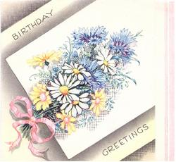 BIRTHDAY GREETINGS floral posy with cornflowers, daisies & yellow flowers, stems tied with pink ribbon left