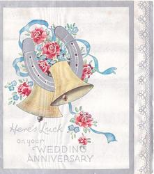 HERE'S LUCK ON YOUR WEDDING ANNIVERSARY below two bells, silver horseshoe, roses, forget-me-nots & blue ribbon, filigree panel right