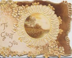 TO GREET YOU in beaded gilt, yellow primroses  round circular rural inset, brown background rifght