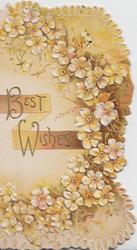 BEST WISHES in beaded gilt, yellow primroses cascading down to right of title