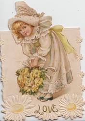 LOVE in gilt below blonde girl in old style dress holding large bouquet of yellow roses, she bends left, looks front, 2 daisies below