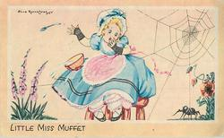 LITTLE MISS MUFFET girl in blue dress & bonnet, foxgloves left, spider & poppies right