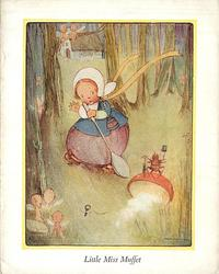 LITTLE MISS MUFFET girl with gigantic spoon faces anthropomorphic spider, pixies around tree