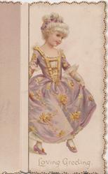 LOVING GREETING  blonde girl in lilac dress holds skirt & dances right
