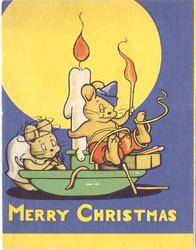 MERRY CHRISTMAS two mice on lit candlestick with green base, blue & yellow background