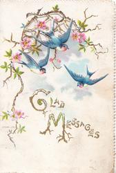GLAD MESSAGES(G & M illuminated) in gilt below 3 swallows, pink wild roses above