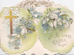 A HAPPY EASTER TO YOU in gilt lower right, cross on perforated lattice, forget-me-nots & snowdrops