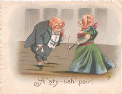 """A """"STY-LISH"""" PAIR!  2 humanized dressed  pigs, he bows to her"""