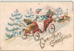 CHRISTMAS GREETINGS in glittered gilt, winter scene, Santa drives down hill towing toys in trailer