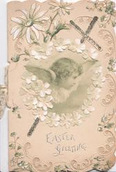 EASTER GREETING in silver, glittered cross & angel inset below white daisies, perforated floral marginal design