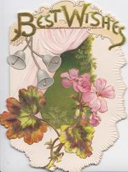 BEST WISHES(B & W illuminated,perforated & glittered) 3 bells, pink geraniums, green central design, pink curtains behind