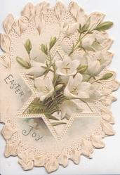 EASTER JOY in gilt below white cyclamen on prominent central & marginal white perforated design