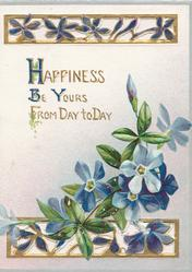 HAPPINESS BE YOURS FROM DAY TO DAY in gilt above pale blue anemones, perforfated gilt designs above & below