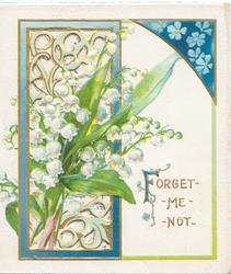 FORGET-ME-NOT(Filluminated) blue forget-me-nots in design upper right, lilies-of-the-valley in front of perforated blue & gilt framed window