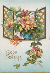 GOOD WISHES in gilt below orange honeysuckle in blue pot on windowsill & perforated design