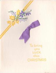 TO BRING YOU LUCK THIS CHRISTMAS below yellow holly & purple embossed heather, purple ribbon applique