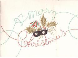 A MERRY CHRISTMAS surrounds gilt embossed holly, mistletoe & black masquerade mask
