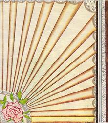 no front title, stylised rose bottom left, rays fan across bulk of card front, dotted panel right