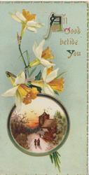 ALL GOOD BETIDE YOU(illuminated) above daffodils & circular rural inset, pale green background