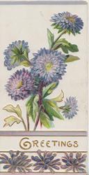 GREETINGS  in gilt, between lilac chrysanthemums(perforated below)