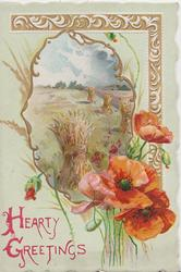 HEARTY GREETINGS(H & G illuminated) in red below inset of stooked wheat, red poppies right, design right & above