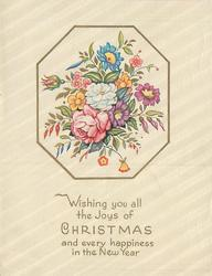 WISHING YOU ALL THE JOYS OF CHRISTMAS AND EVERY HAPPINESS IN THE NEW YEAR mixed floral bunch
