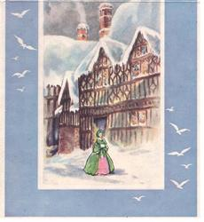 no front title, blue border with seagulls, inset of woman standing in front of tudor building, snow