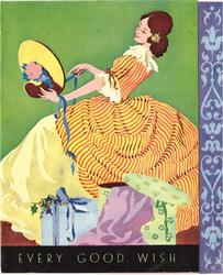 EVERY GOOD WISH woman in striped orange dress leans back looking at bonnet, parcels front