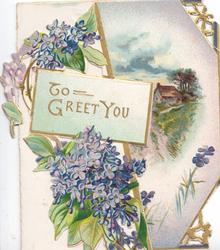 TO GREET YOU in gilt  on pale green plaque, lilac above & below, rural scene on back cover partly visible