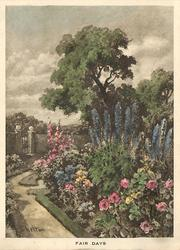 FAIR DAYS path left of flower garden & trees, metal gate middle-left, hand coloured