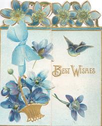 BEST WISHES in gilt below blue birds of happiness, blue anemones in basket & top design