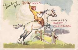 WISHING YOU GOOD LUCK AND A VERY HAPPY CHRISTMAS woman rides horse right over fence