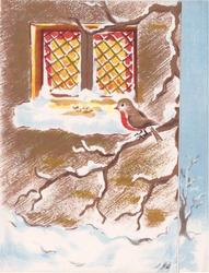 no front title, robin on snowy branch right of cross hatched window