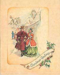 CHRISTMAS GREETINGS below village inset: couple in old style dress walk forward