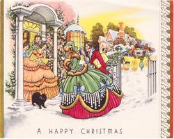 A HAPPY CHRISTMAS couple greets family in doorway, snow on the ground, stylised gilt holly on panel right