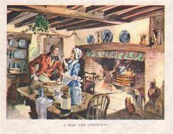A WISH FOR CHRISTMAS man & woman stand at table in kitchen under holly, cat right