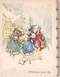 A HUNDRED YEARS AGO couple with dog & two ladies outside YE OLDE GIFT SHOPPE in winter