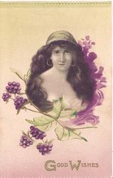 GOOD WISHES in gilt, Head & shoulders of girl with very long hair, off shoulder dress, looks front, above purple mistletoe