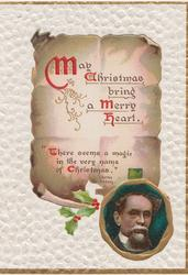MAY CHRISTMAS BRING A MERRY HEART.(illuminated ) on plaques, Dickens portrait on seal, white background