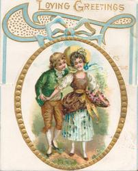 LOVING GREETINGS in gilt above blue ribbon design, gilt bordered oval inset of boy & girl standing holding hands
