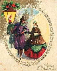 BEST WISHES FOR CHRISTMAS couple in old style dress within ovular inset with gilt frame, lantern with holly