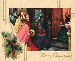 MERRY CHRISTMAS inset children in old style dress gather to look at robin, holly left