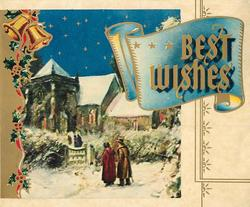 BEST WISHES on  blue scroll, couple walk toward church on starry night, gilt panel with holly & bells left
