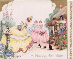 A HAPPY NEW YEAR 3 women in old style dresses look at black cat & kittens, spring flower garden & cottage, gilt panel right