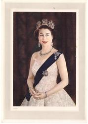 no front title, Queen Elizabeth II stands with hands clasped, gazing right, bracelet on each wrist, sash