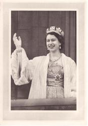 no front title, Queen Elizabeth II stands on terrace, waving gloved right hand, white fur coat, grey border