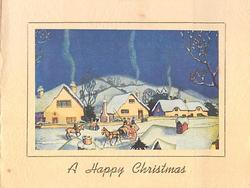 A HAPPY CHRISTMAS below snowy village inset: row of houses with smoke from chimneys, horse & carriage, night sky
