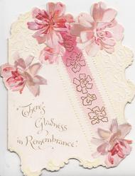"individual pink lily flowers ""THERE'S GLADNESS IN REMEMBRANCE"", stylised pink flowers on diagonal pink ribbon"
