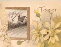 THOUGHTS above pale yellow anemones, rural inset birch tree & cottage left, designed bow in cream