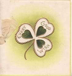 EVERY GOOD WISH in gilt on stylised clover leaf with green hearts. pale green background